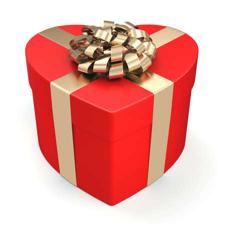 3D rendering Red box with heart shaped gold ribbon