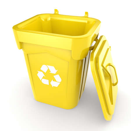 dumpster: 3D rendering Yellow Recycling Bin isolated on white background