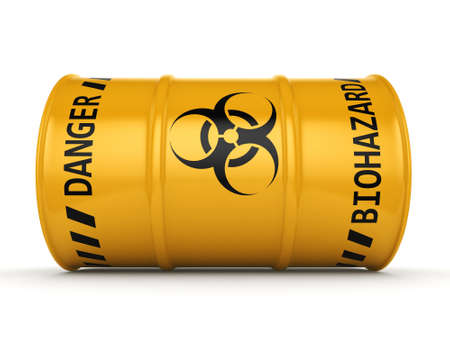 utilization: 3D rendering yellow barrel with biologically hazardous materials Stock Photo