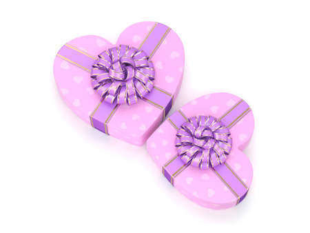 purple ribbon: 3D rendering Pink boxes with heart shaped purple ribbon