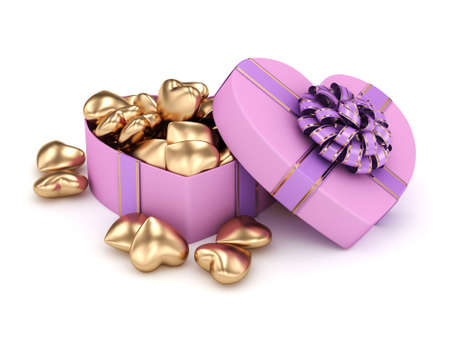 3D rendering pink heart shaped box with ribbon and bow