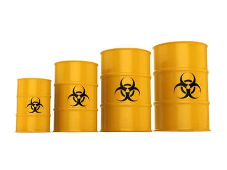 chemical hazard: 3D rendering yellow barrels with biologically hazardous materials