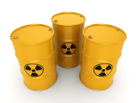 barrels with nuclear waste: 3D rendering yellow barrels with radioactive materials Stock Photo