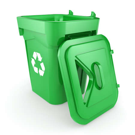 environmentalist: 3D rendering Green recycling bin isolated on white background Stock Photo