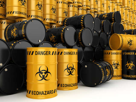 biological hazards: 3D rendering yellow and black barrels with biologically hazardous materials