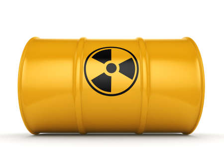 barrel radioactive waste: 3D rendering yellow barrel with radioactive materials Stock Photo