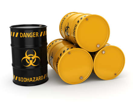 hazardous waste: 3D rendering yellow and black barrels with biologically hazardous materials