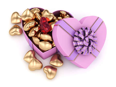 fourteenth: 3D rendering pink heart shaped box with ribbon and bow
