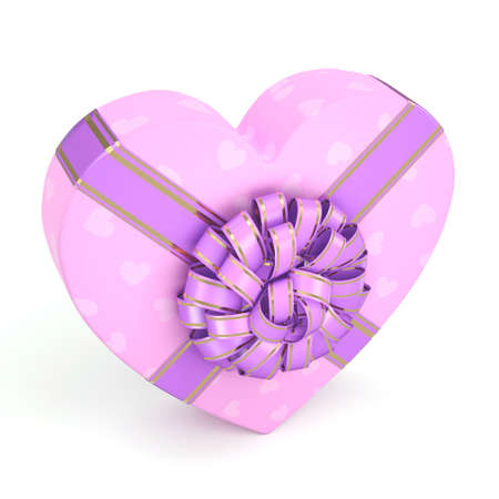 purple ribbon: 3D rendering Pink boxe with heart shaped purple ribbon