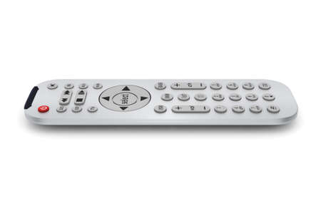 tv remote: 3D rendering tv remote gray on a white background