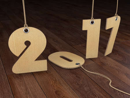 textural: 3D rendering 2017 New Year digits on textural background