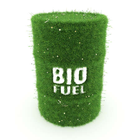 hydrocarbon: 3D rendering barrel covered with green grass with biofuels