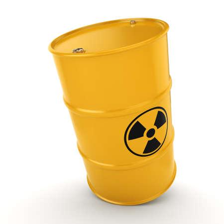uranium: 3D rendering yellow barrel with radioactive materials Stock Photo
