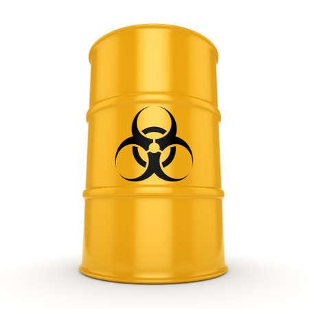 3D rendering yellow barrel with biologically hazardous materials Stock Photo