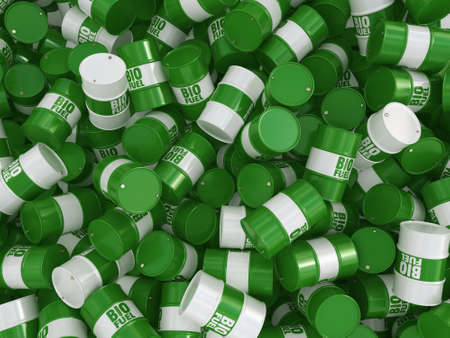 hydrocarbon: 3D rendering green barrels for biofuels with lettering Stock Photo