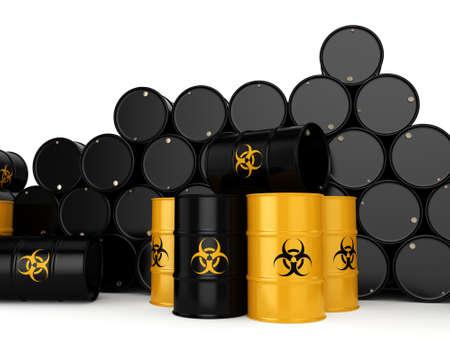 utilization: 3D rendering yellow barrels with biologically hazardous materials