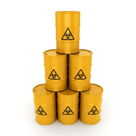 biohazard sign: 3D rendering yellow barrels with biologically hazardous materials