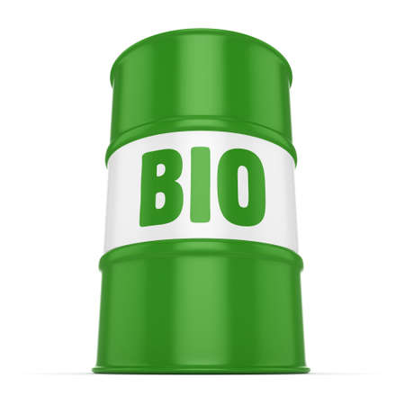 hydrocarbon: 3D rendering green barrel for biofuels with lettering