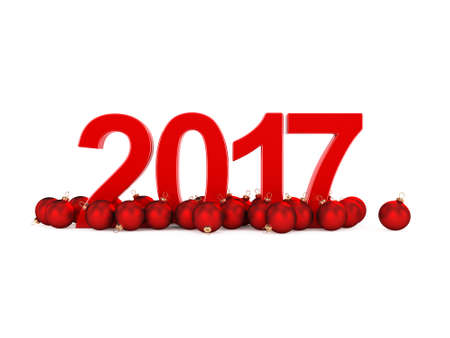 bal: 3D rendering 2017 New Year red digits with a red christmas balls