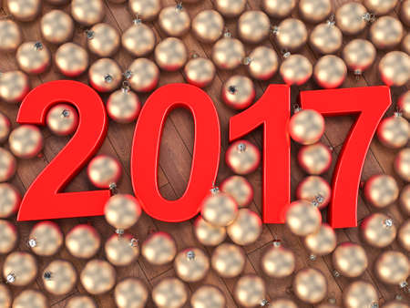 3D rendering 2017 New Year red digits and gold christmas balls lying on a wooden surface