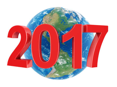 3D rendering 2017 New Year red digits with Earth