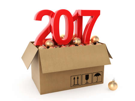 bal: 3D rendering 2017 New Year red digits with a cardboard box of golden Christmas balls