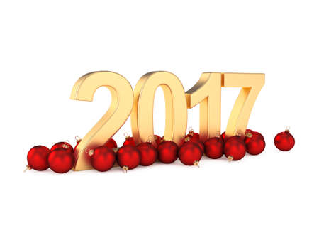 3D rendering 2017 New Year gold digits with a red christmas balls