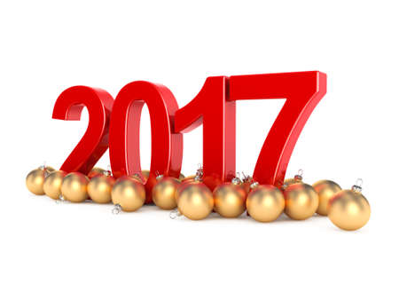 3D rendering 2017 New Year red digits with a golden christmas balls Stock Photo