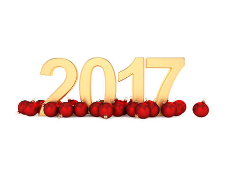 numbers background: 3D rendering 2017 New Year gold digits with a red christmas balls