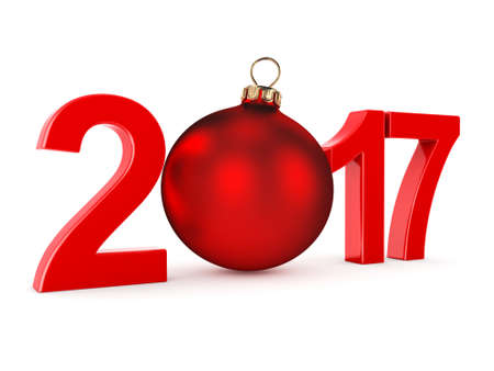 next day: 3D rendering 2017 New Year red digits with a red christmas ball