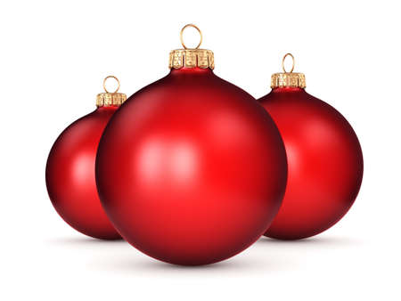 3D rendering red Christmas ball on a white background