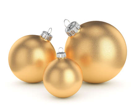 3D rendering gold Christmas ball on a white background Stock Photo