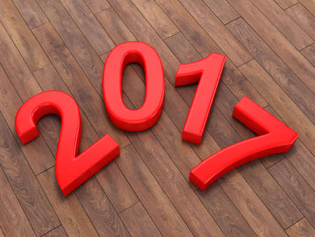 next day: 3D rendering 2017 New Year red digits lying on a wooden surface Stock Photo