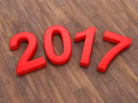 next year: 3D rendering 2017 New Year red digits lying on a wooden surface Stock Photo