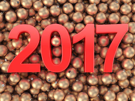 bal: 3D rendering 2017 New Year red digits and gold christmas balls lying on a wooden surface