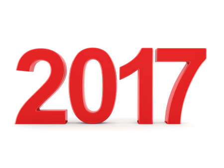 next day: 3D rendering 2017 New Year red digits isolated on white background Stock Photo