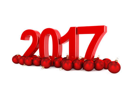 next day: 3D rendering 2017 New Year red digits with a red christmas balls