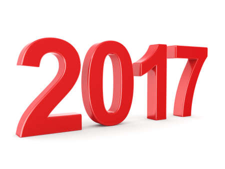 3D rendering 2017 New Year red digits isolated on white background Stock Photo