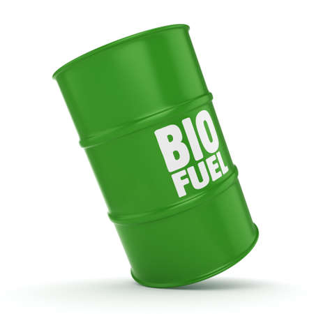 3D rendering green barrel for biofuels with white lettering