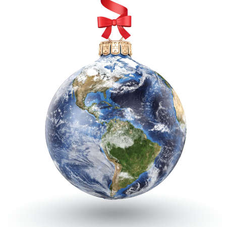3D rendering Christmas ball in the form of planet Earth on a white background