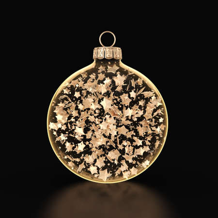 3D rendering transparent Christmas balls on a dark background with stars inside