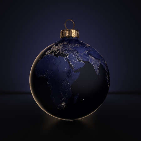 3D rendering Christmas ball Planet Earth at night lighting on a dark background.