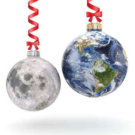 3D rendering Christmas ball in the form of planet Earth and Moon on a white background.