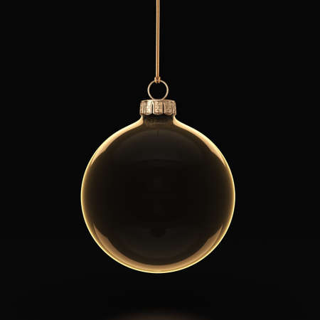 gold christmas background: 3D rendering transparent Christmas ball on a dark background
