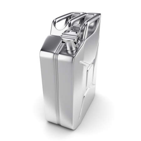 3D rendering chrome jerrycan on white background Stock Photo