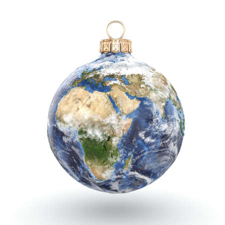 3D rendering Christmas ball in the form of planet Earth on a white background.