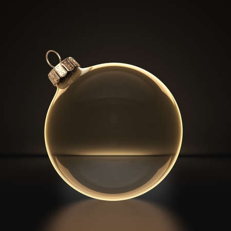 3D rendering transparent Christmas ball on a dark background