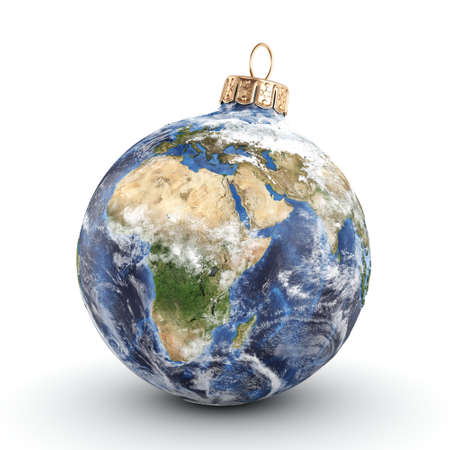 3D rendering Christmas ball in the form of planet Earth on a white background. Used NASA data. Stock Photo