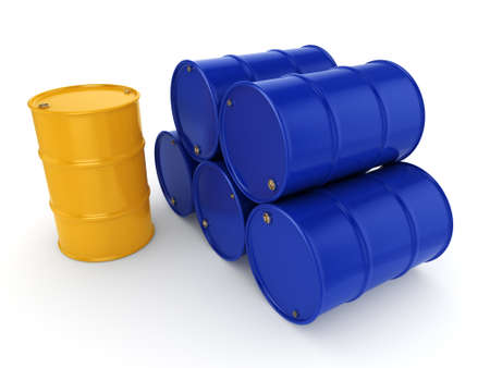 3D rendering blue and yellow barrels not contain any inscriptions