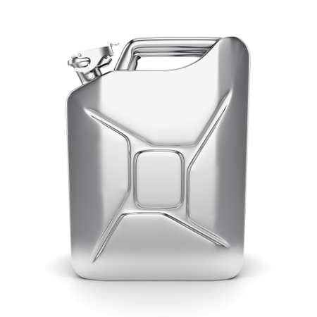 gas can: 3D rendering chrome jerrycan on white background Stock Photo